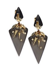 Alexis Bittar Lucite Swarovski Crystal And 10K Yellow Gold Drop Earrings Ash