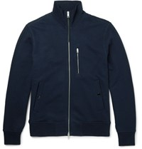 Rag And Bone Loopback Cotton Jersey Zip Up Sweatshirt Navy