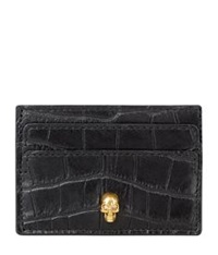 Alexander Mcqueen Embossed Crocodile Skull Card Holder Black
