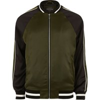 River Island Mens Green Dragon Embroidered Aviator Jacket
