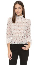 Marc By Marc Jacobs Cherry Pindot Long Sleeve Top Off White Multi