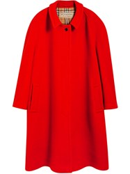 Burberry Double Faced Wool Cashmere Oversized Car Coat Red