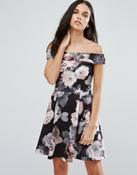 Jessica Wright Bold Floral Skater Dress Navy