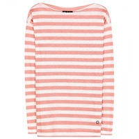 Loro Piana Portovenere Striped Linen Jersey Top Coral Fancy