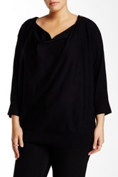 Chelsea And Theodore Zip Shoulder Cowl Sweater Plus Size Black