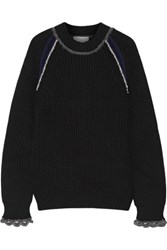 3.1 Phillip Lim Open Knit Trimmed Wool And Cotton Blend Sweater Black