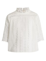 Vanessa Bruno Guibert Lace Trimmed Cotton Blend Top White