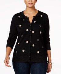 Charter Club Plus Size Embellished Cardigan Only At Macy's Deep Black Dot Combo