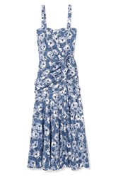 Veronica Beard Marena Gathered Printed Cotton Poplin Midi Dress Blue Gbp