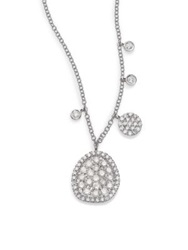 Meira T Diamond And 14K White Gold Ice Disc Necklace