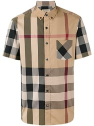 Burberry Checked Shortsleeved Shirt Nude Neutrals