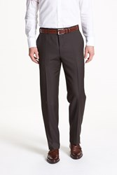 Canali Men's Big And Tall Flat Front Wool Trousers Brown Brown