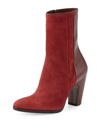 Cnc Costume National Suede And Leather Ankle Boot Bordeaux