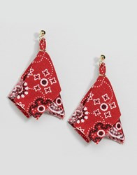 Asos Limited Edition Bandana Stud Earrings Red Gold