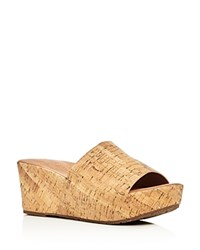 Gentle Souls Forella Cork Platform Slide Sandals Natural