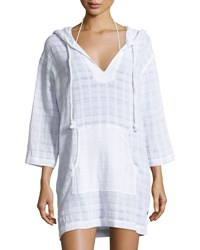 Seafolly Tonal Plaid Cotton Hooded Coverup Tunic White