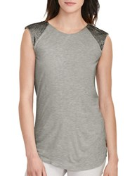 Lauren Ralph Lauren Petite Beaded Cap Sleeve Top Platinum Heather