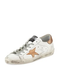 Golden Goose Superstar Leather Low Top Platform Sneaker With Glitter Star White Copper