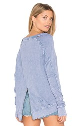Pam And Gela Destroyed Annie Hi Lo Sweatshirt Blue