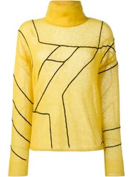 Rag And Bone Rag And Bone Embroidered Turtleneck Sweater Yellow And Orange