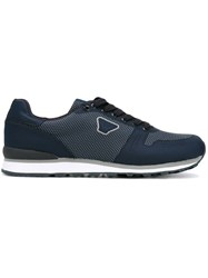Armani Jeans Panelled Sneakers Men Nylon Synthetic Resin Rubber 42 Blue