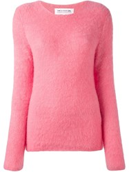 Comme Des Garcons Girl Ribbed Crew Neck Jumper Pink And Purple
