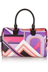 Emilio Pucci Leather Trimmed Printed Vinyl Tote Purple
