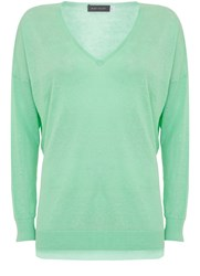 Mint Velvet Jade V Neck Side Split Knit Green