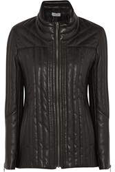 Helmut Lang Quilted Leather Coat Black