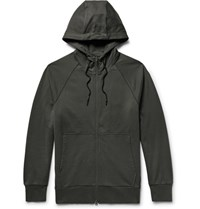 Y 3 Printed Loopback Stretch Cotton Jersey Zip Up Hoodie Army Green
