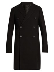 Rick Owens Double Breasted Wool Overcoat Black