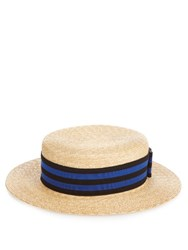 Lanvin Straw Boater Hat Blue