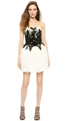 Loyd Ford Ivory Bustier Feather Dress White
