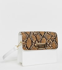 Glamorous Two Tone Structured Shoulder Bag White