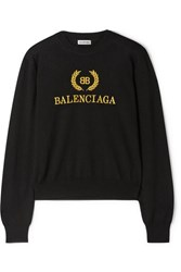 Balenciaga Embroidered Wool Sweater Black