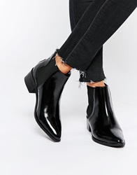 Selected Femme Elena Black Leather Point Ankle Boots