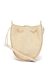 The Row Drawstring Round Suede Cross Body Bag Ivory