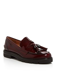 Stuart Weitzman Manila Leather Platform Loafers Cordovan Red