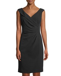 Tahari By Arthur S. Levine Side Ruched Sleeveless Cocktail Dress Black