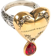 Alexander Mcqueen Embellished Silver Toned Metal Ring Silver Gold