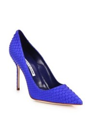 Manolo Blahnik Bb 105 Iridescent Snakeskin Pumps Blue