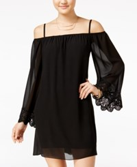 Amy Byer Bcx Juniors' Lace Trim Off The Shoulder Shift Dress Black