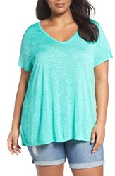 Sejour Plus Size Women's Slub Knit Tee Green Kale