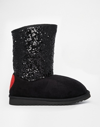 Love Moschino Black Australian Boots With Sequin Detail Black00a