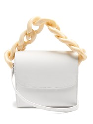 Marques Almeida Oversized Curb Chain Leather Shoulder Bag White