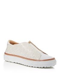 Delman Embossed Slip On Sneaker White