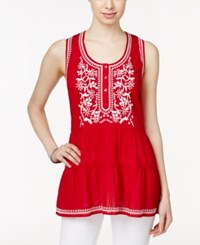 Styleandco. Style And Co. Petite Sleeveless Embroidered Peasant Blouse Only At Macy's Glrietta Red
