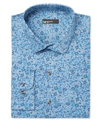 Bar Iii Slim Fit Blue Painted Floral Dress Shirt Only At Macy's