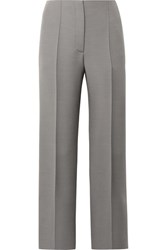 The Row Max Wool And Silk Blend Straight Leg Pants Gray