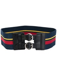 Sonia Rykiel By Striped Belt Women Cotton Leather M Black